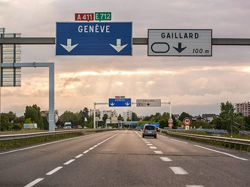 Can I cross the border between France and Switzerland with my hire car?